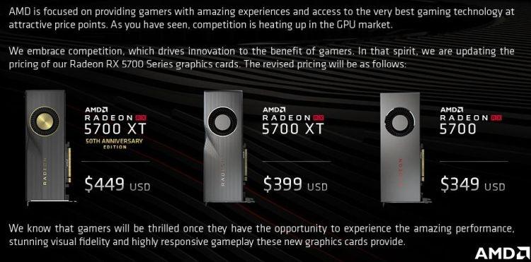 """AMD официально подтвердила снижение цен на видеокарты серии Radeon RX 5700"""""""