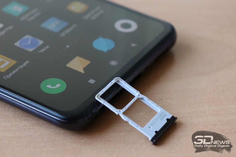 Xiaomi Mi 9T, слот для двух карточек стандарта nano-SIM