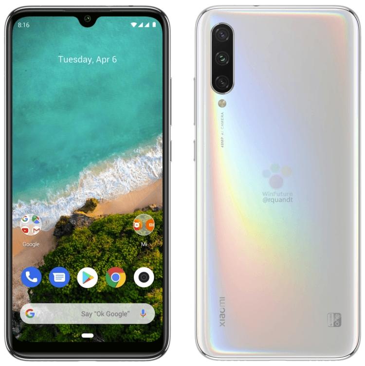"Смартфон Xiaomi Mi A3 позирует на пресс-рендерах"""