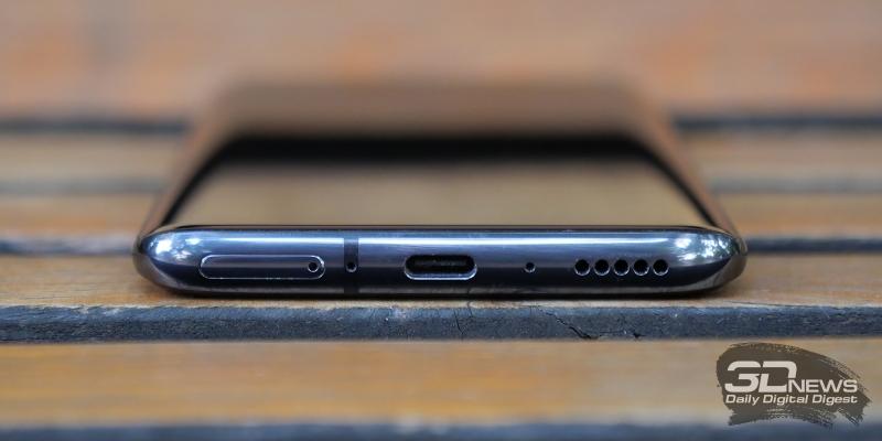 OnePlus 7 Pro, нижняя грань: основной динамик, порт USB Type-C, два микрофона, слот для двух карточек стандарта nano-SIM