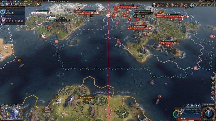 VRS (слева) позволила в этой сцене Civilization VI повысить производительность на 14 % при одинаковом качестве.