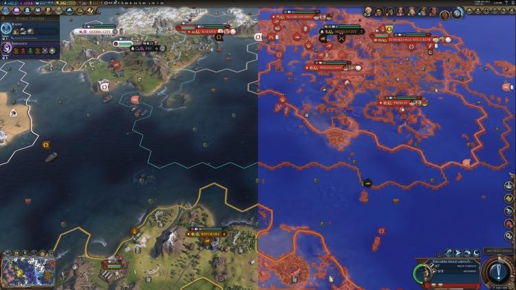 Civilization VI с применением VRS — красные области показывают зоны, в которых Shading rate установлен в режим 1 × 1, а синие — 2 × 2