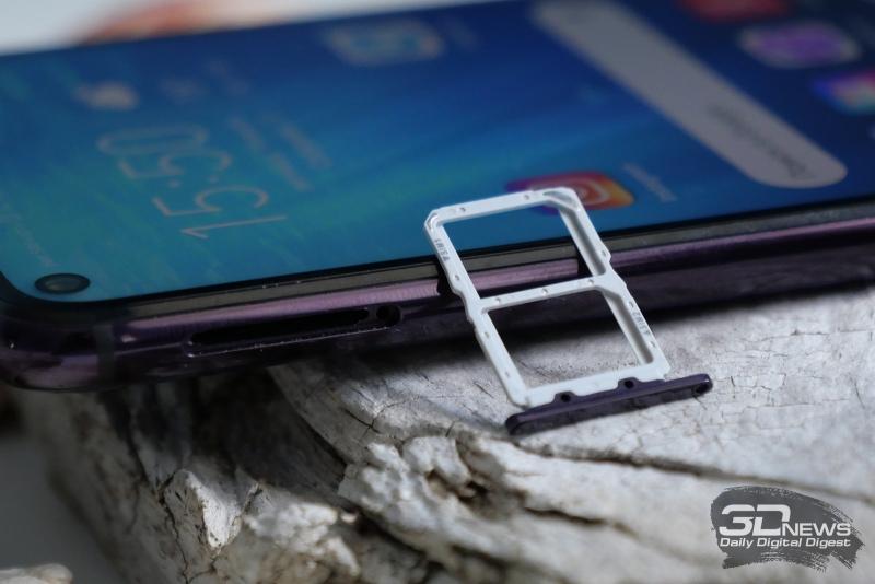 Honor 20 Pro, слот для двух карточек nano-SIM