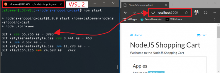 WSL 2 for Windows 10 (18945) now has access to localhost and third