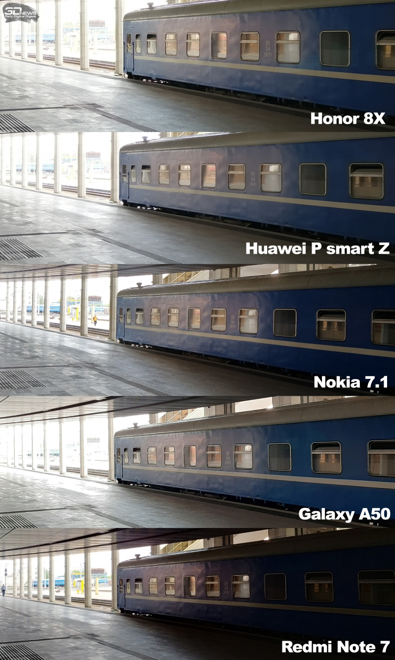 Сравнение проработки деталей в светлых и темных участках кадра в режиме HDR, девятая тестовая сцена