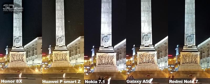Сравнение резкости в центре кадра в режиме ночной съемки, одиннадцатая сцена