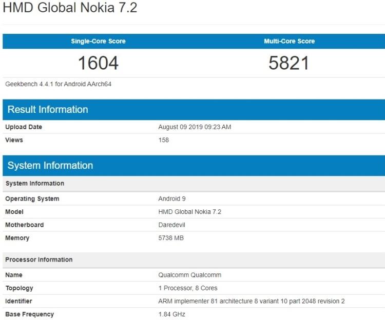 """Смартфон Nokia 7.2 замечен в базе Geekbench с чипом Snapdragon 660 и 6 Гбайт ОЗУ"""""""