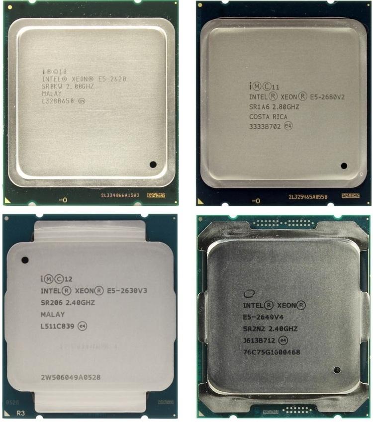 Процессоры Xeon E5. Верхний ряд v1 и v2, нижний ряд v3 и v4 (слева направо)