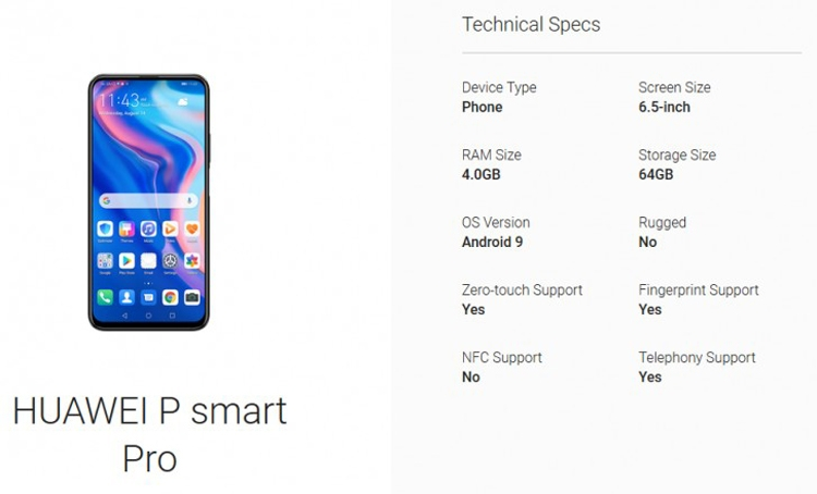 "Huawei P Smart Pro получит 6,5-дюймовый экран"""