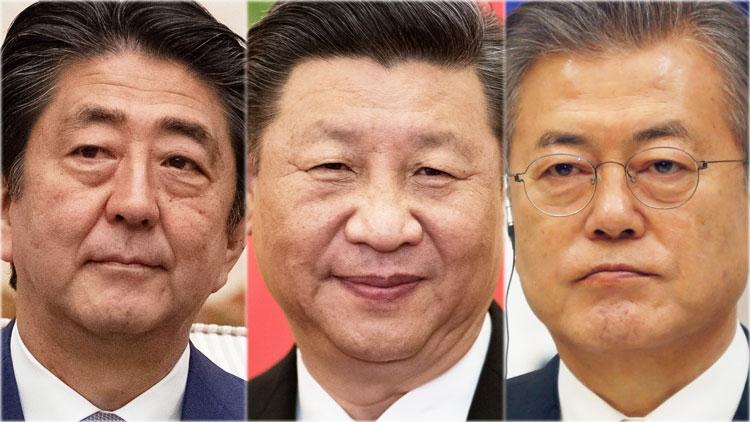 Лидеры Японии, Китая и Республики Корея (коллаж Reuters)