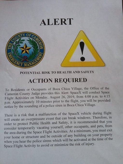"""Полиция просит местных жителей покинуть дома на время тестирования SpaceX Starhopper"""""""