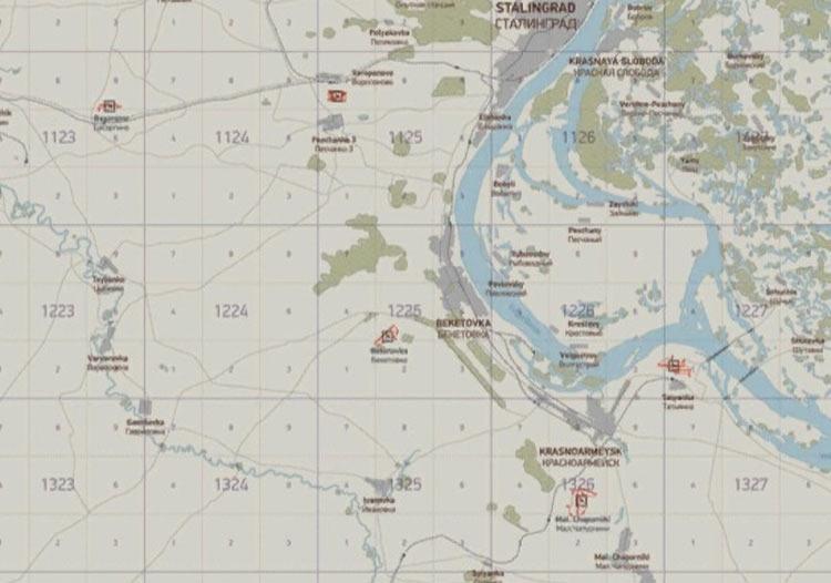 Скриншот сетки 1225 карты «Волга» из «Ил-2 Штурмовик: Битва за Сталинград»