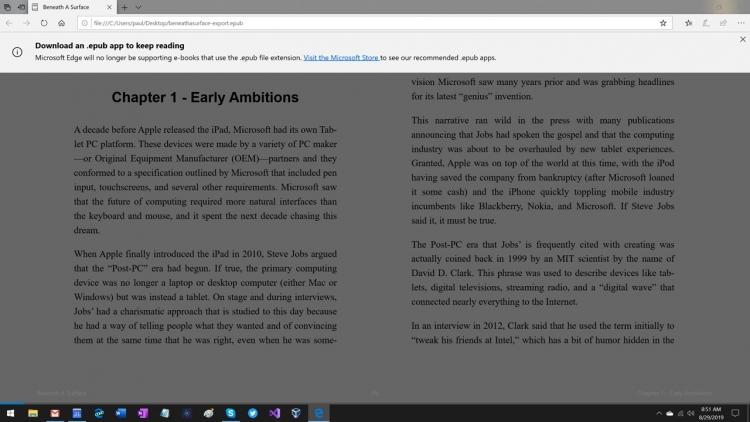Из классического Microsoft Edge уберут поддержку EPUB