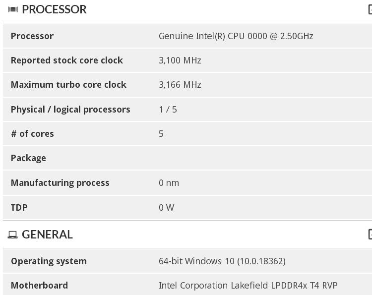 """Процессоры Intel Lakefield раскрыли информацию о частотах и быстродействии"""""""