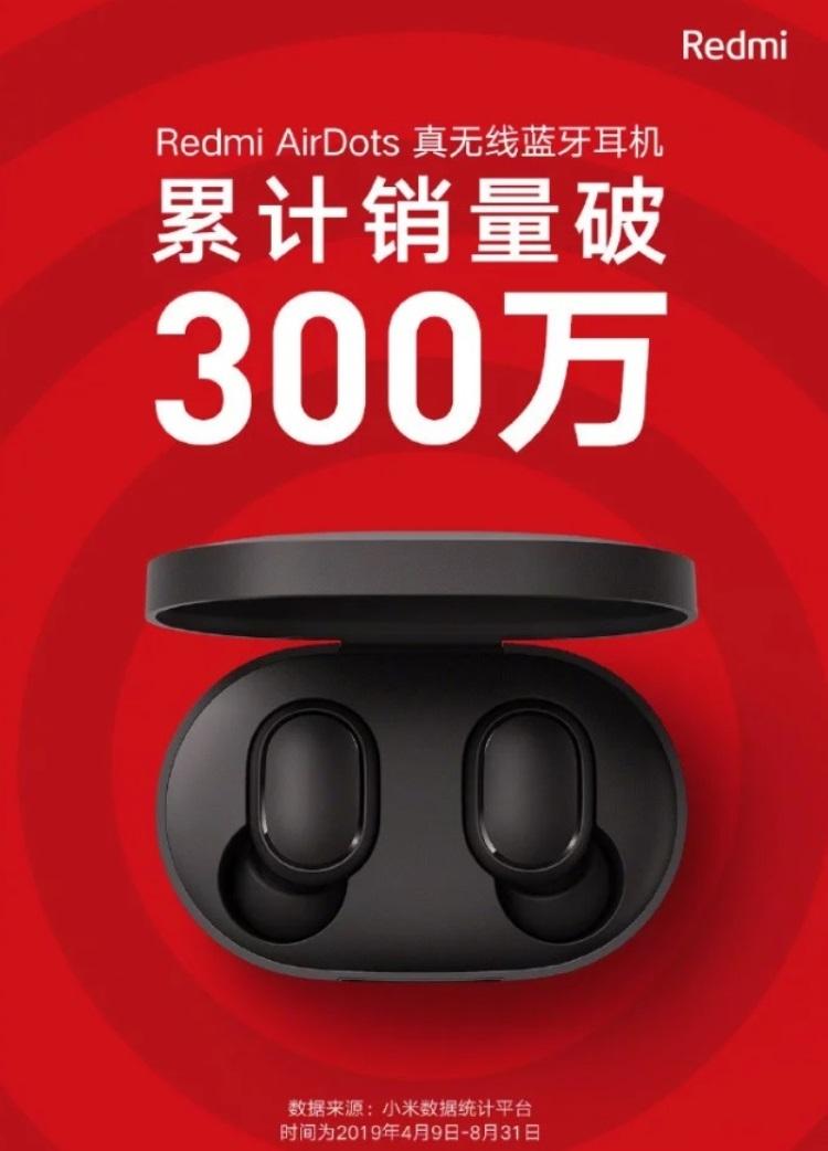 """За несколько месяцев продано более 3 млн наушников Redmi AirDots"""""""