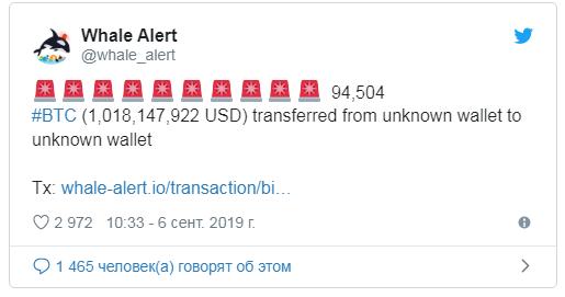 "Транзакция в 94 504 BTC ($1 млрд) на неизвестный кошелек прервала рост биткоина"""