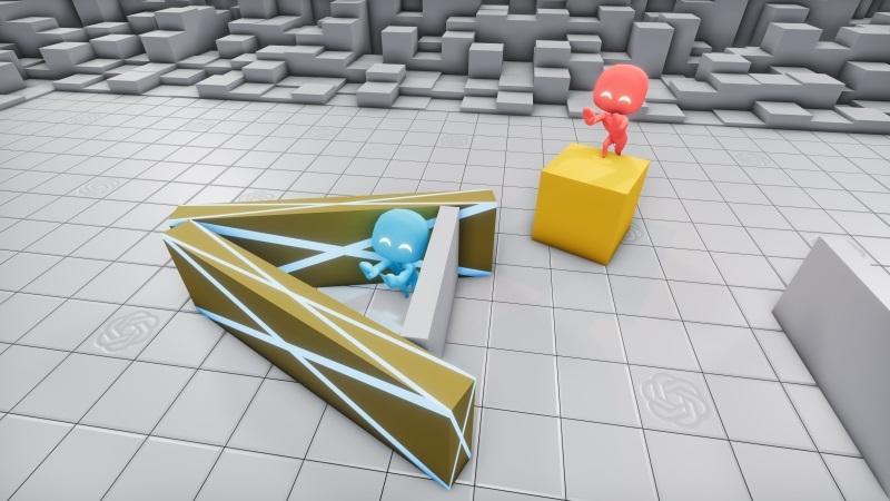 Механика игры позволила красной стороне (ищущим) через некоторое время придумать, как использовать заблокированные пандусы, чтобы подняться на коробки и перемещаться уже прямо на них, чтобы затем спрыгивать в построенные синими (прячущимися) укрытия