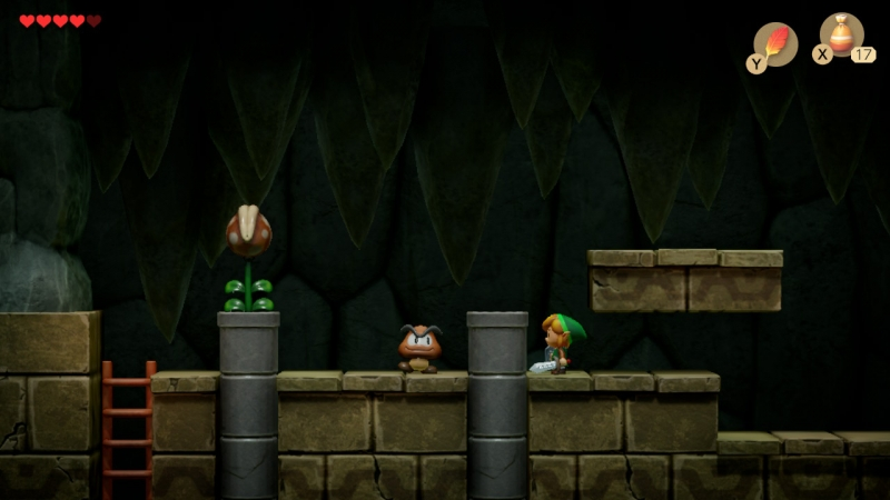 Противники из «Марио» в моей «Зельде»! К слову, в Link's Awakening нередко встречаются вот такие двухмерные переходы между комнатами