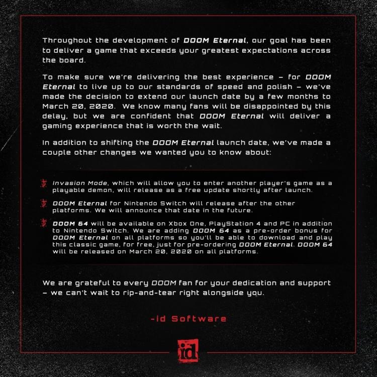 DOOM Eternal и DOOM 64 перенесены на следующий год, а версия для Switch выйдет позже остальных