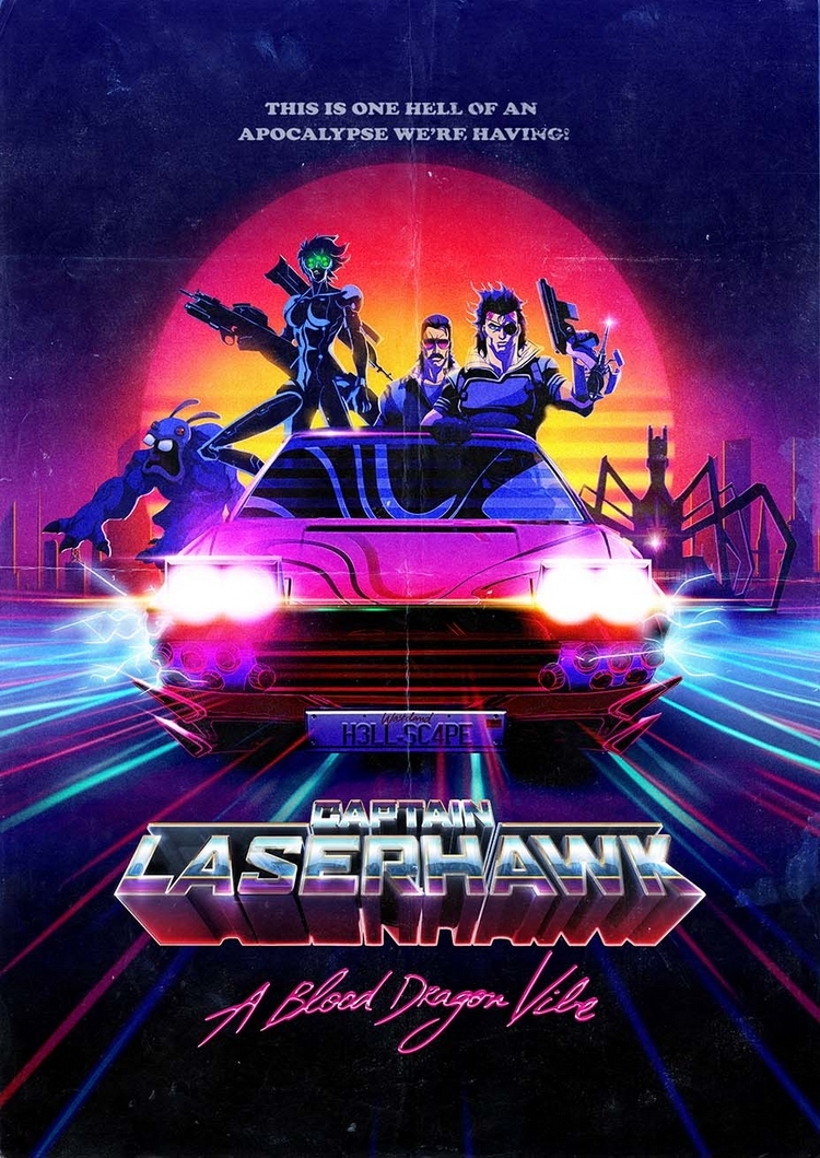 Постер Captain Laserhawk: A Blood Dragon Vibe в стиле 80-х