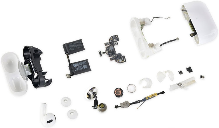 Разобранные наушники AirPods Pro и чехол для зарядки, iFixit