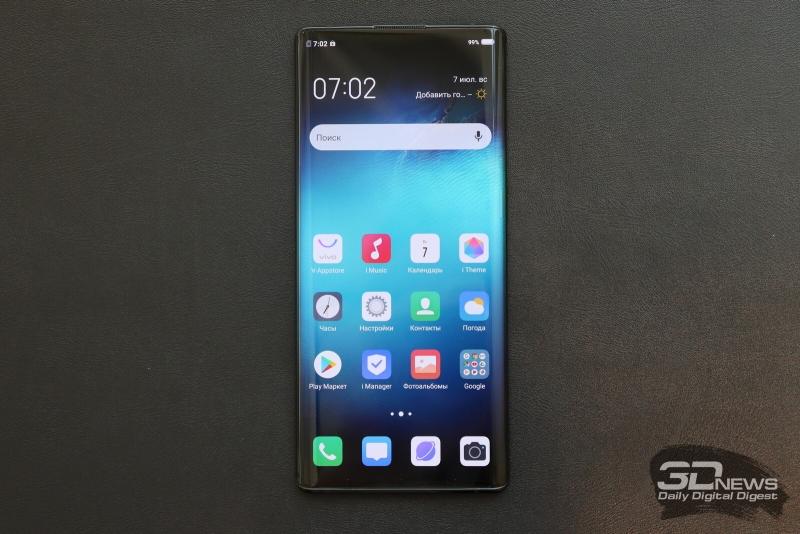 NEX 3, лицевая панель целиком занята экраном — с небольшим вырезом для разговорного динамика сверху