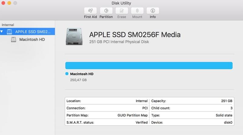 Информация об SSD в Disk Utility