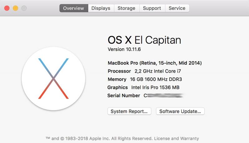Вот здесь должен быть указан серийный номер каждого ноутбука Apple, убедитесь в том, чтобы он совпадал с номерами на корпусе и на коробке