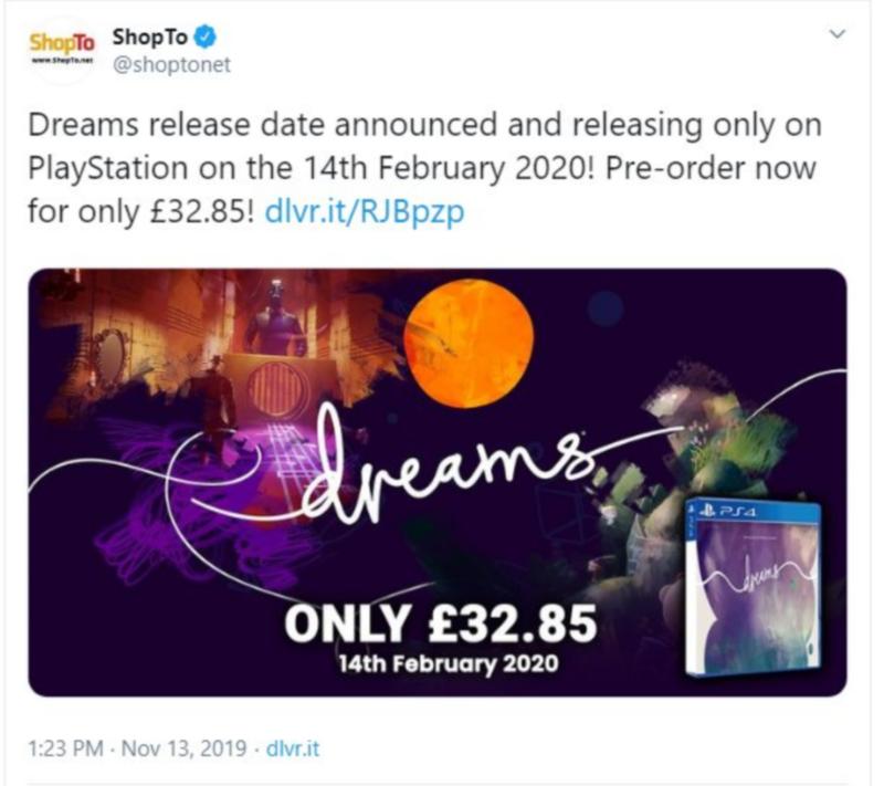 """Слухи: полная версия Dreams выйдет 14 февраля 2020 года"""""""
