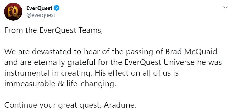 Геймдизайнер EverQuest Брэд Маккуэйд ушёл из жизни в возрасте 51 года
