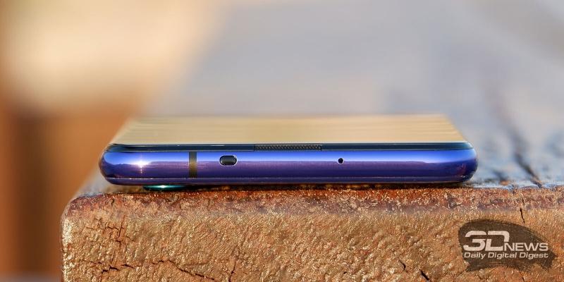 Huawei nova 5T, верхняя грань: микрофон и ИК-датчик