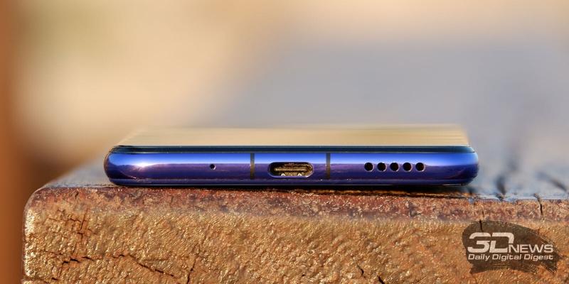 Huawei nova 5T, нижняя грань: микрофон, порт USB Type-C и основной динамик