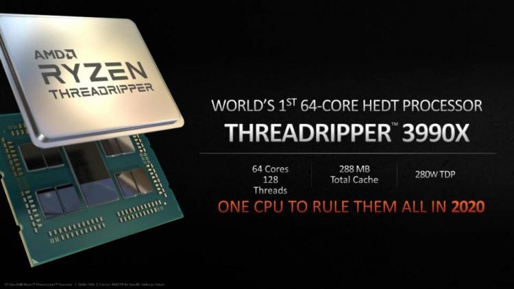 """64-ядерный AMD Threadripper 3990X подтверждён: запуск в 2020 году, 280 Вт и 288 Мбайт кеша"""""""