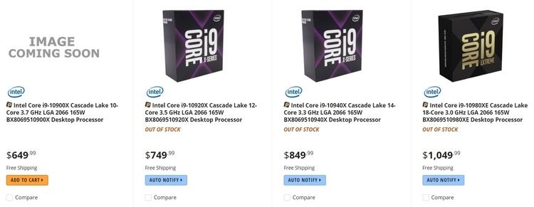"Начало продаж Intel Cascade Lake-X: действительно подешевело!"""