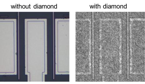 Слева изображение «голого» транзистора, а справа транзистор покрыт нанокристаллами алмаза (Fujitsu)