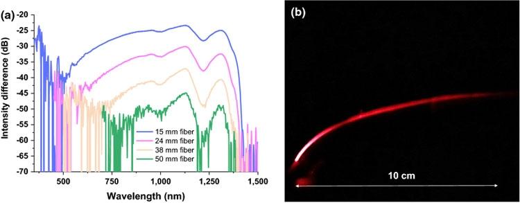 Разница в интенсивности распространенния света в оптоволокне из целлюлозы в зависимсоти от длины волны (Cellulose)