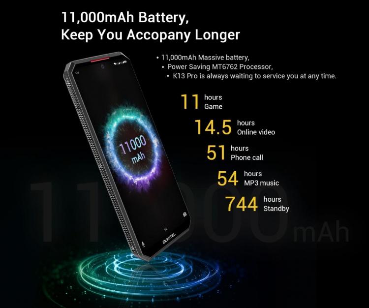 """Акция: смартфон Oukitel K13 Pro с батареей на 11 000 мА·ч предлагается по цене $169"""""""