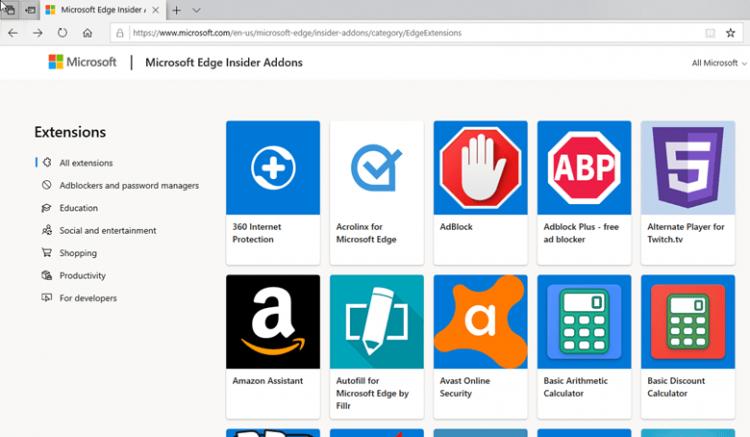"""Microsoft обновила сайт с расширениями для новогоEdge"""""""