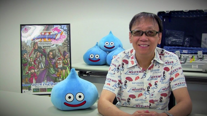 Юдзи Хории с одним из главных символов Dragon Quest — слизняка