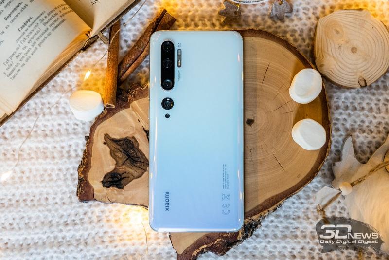 Xiaomi Mi Note 10, задняя панель: в углу — целый комплекс, состоящий из пяти камер и двух двойных блоков светодиодных вспышек