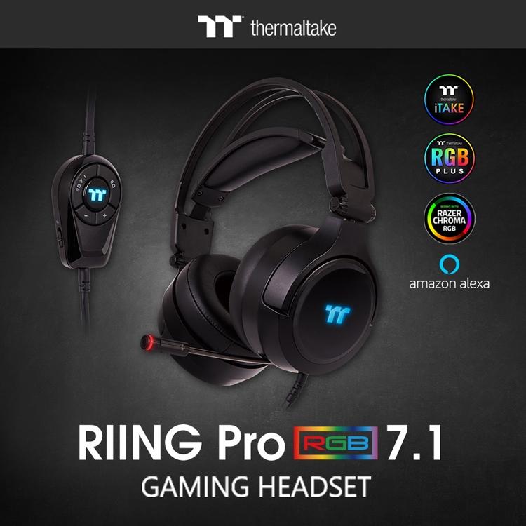 Гарнитура Thermaltake RIING Pro RGB 7.1 формирует объёмный звук