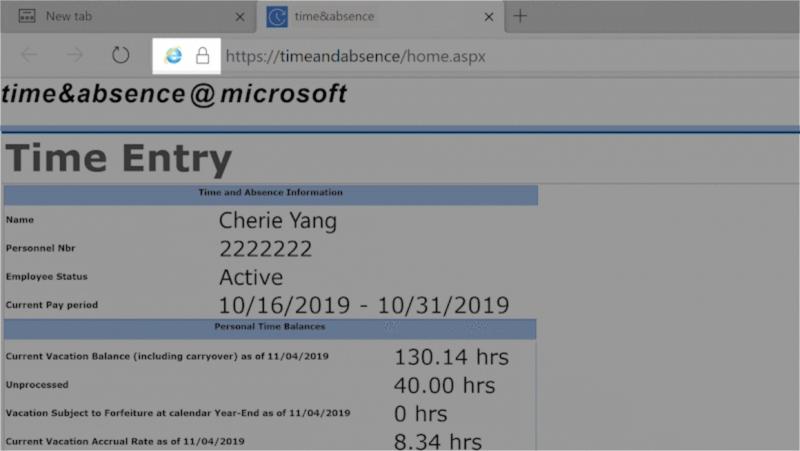 При включённом режиме совместимости с IE в адресной строке браузера отображается соответствующий значок