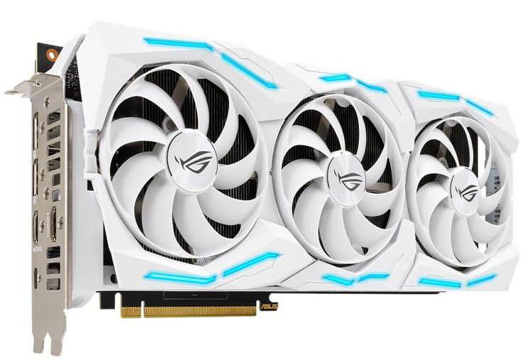 Видеокарта ASUS ROG Strix GeForce RTX 2080 Super выполнена в белом цвете