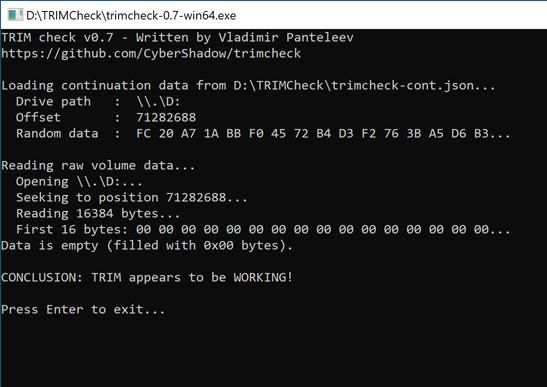 TRIM работает, но накопитель нужно переформатировать в NTFS