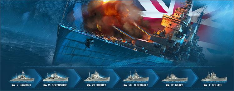 Обновление в World of Warships: шесть тяжёлых британских крейсеров и адмирал Эндрю Каннингем