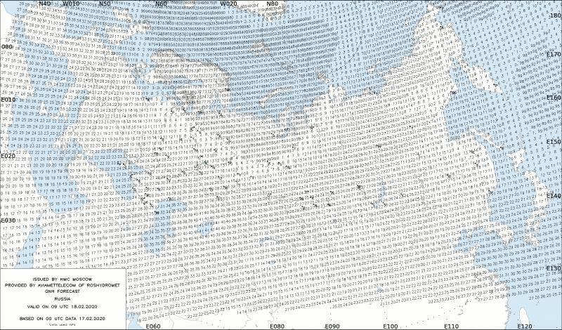 Модель COSMO-RU 13.2 км, Гидрометцентр России - прогноз QNH