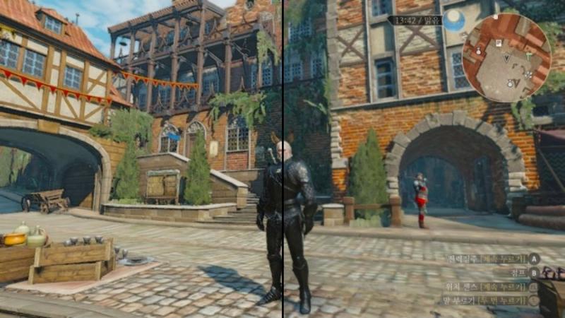 Сравнение графики в Switch-версии The Witcher 3: Wild Hunt до активации новых настроек (справа) и после (слева)