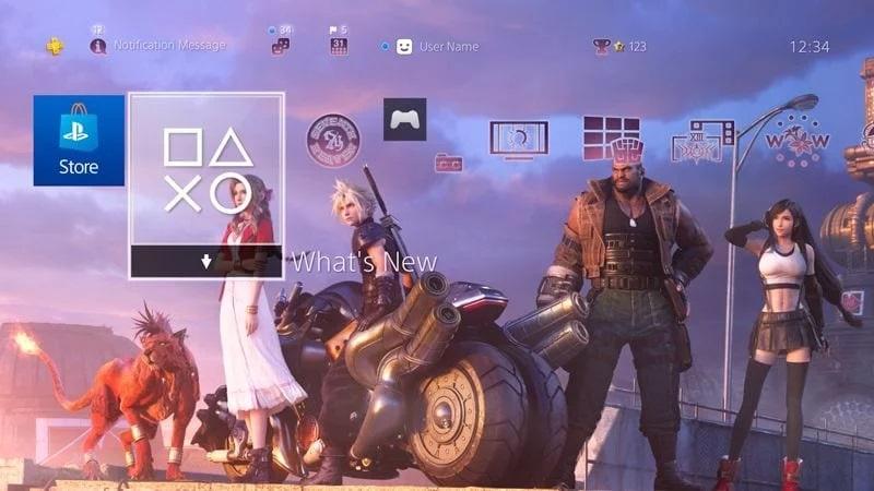 Скриншот обещанной темы для PS4