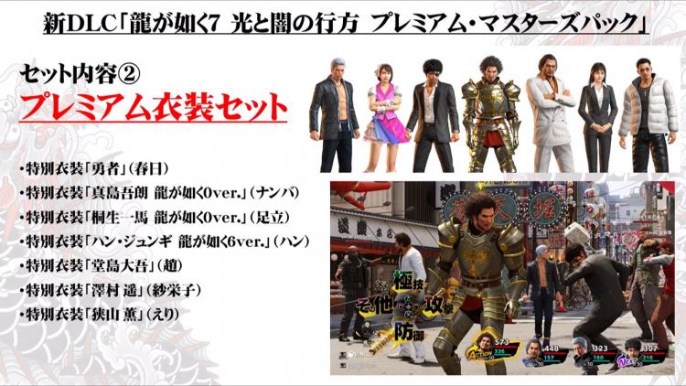 В набор Premium Costume Set входят костюмы героев из прошлых частей Yakuza