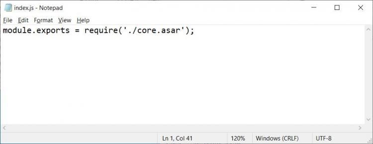 Так выглядит оригинальный файл index.js клиента Discord.